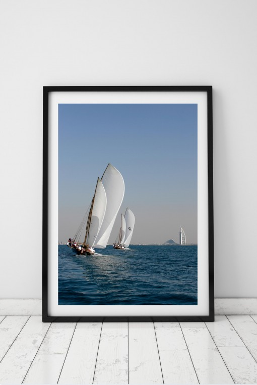 Poster with frame Traditional Boat Race - Dubai - UAE By Emmanuel Catteau