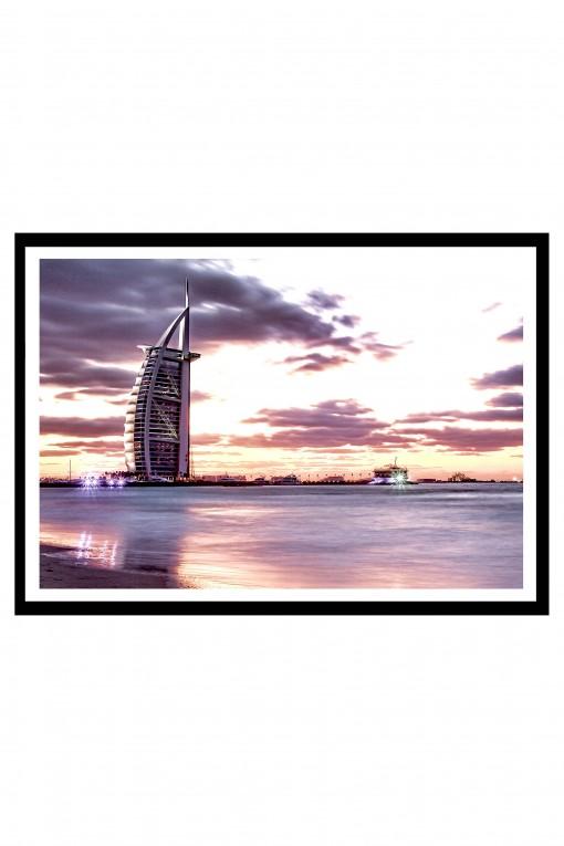 Poster with frame Sunset on Burj Al Arab - Dubai - UAE By Emmanuel Catteau