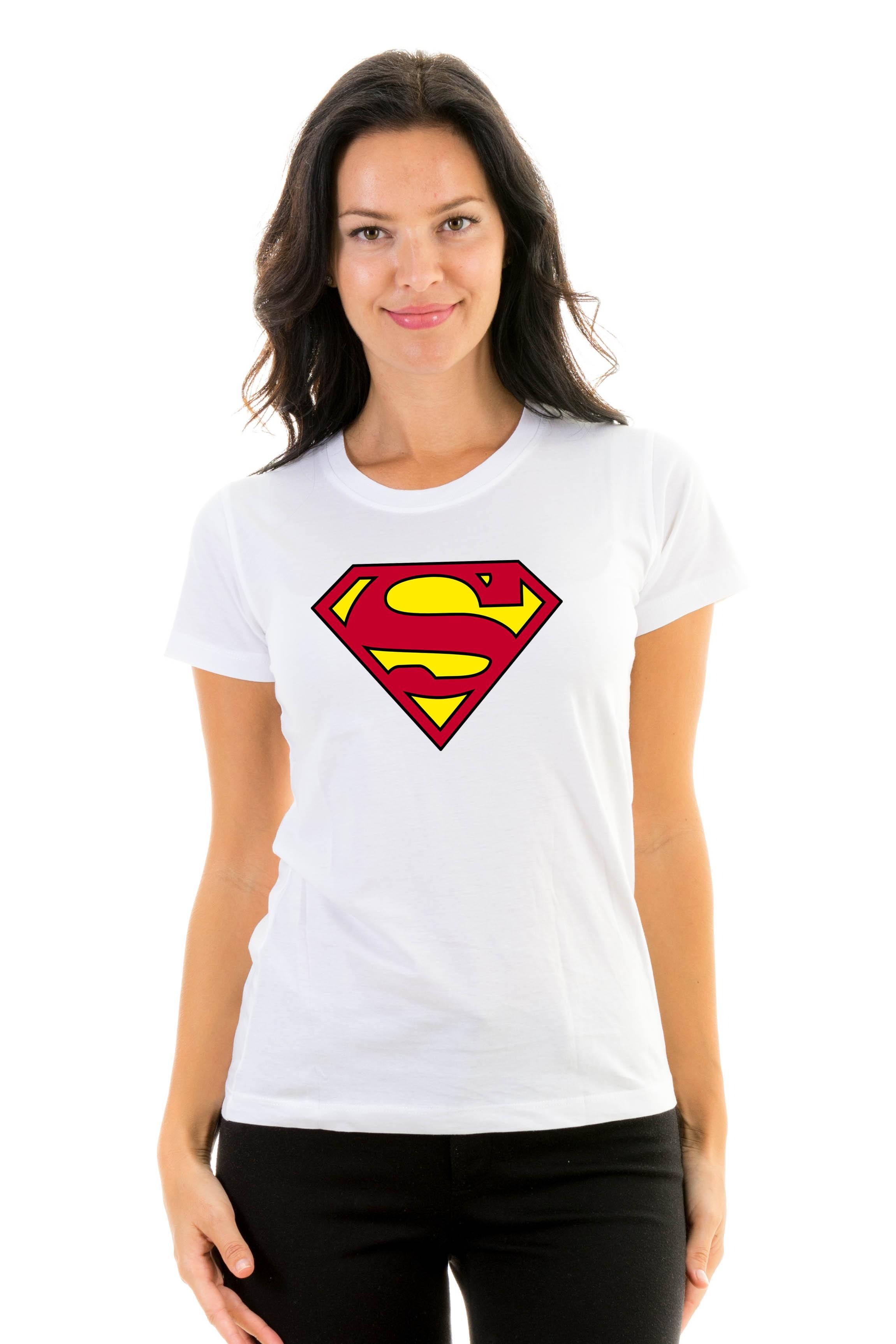 Superman Super Hero Women T-Shirt 100/% Cotton Tshirt