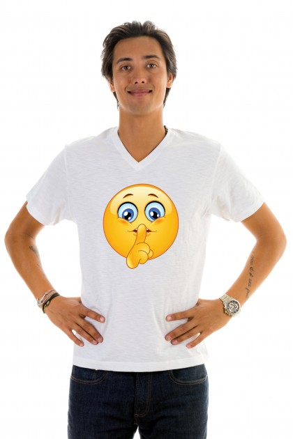 T-shirt v-neck Smiley Silence