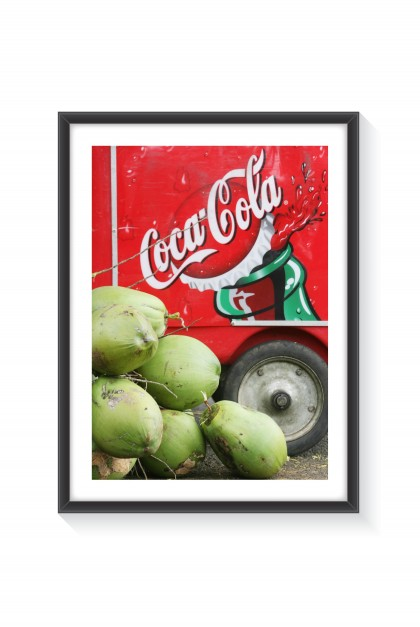 Poster with frame Coca Versus Coconut - Mauritius By Emmanuel Catteau