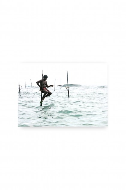 Canvas Traditional Fishing - Weligama - Sri Lanka By Emmanuel Catteau