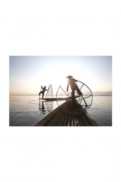 Poster Traditional Fishing - Myanmar By Emmanuel Catteau