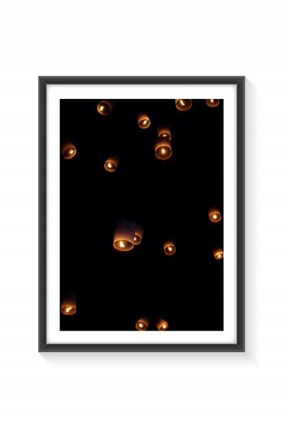 Poster with frame Flying Lantern - Thailand By Emmanuel Catteau
