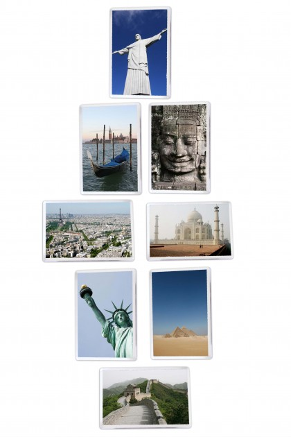 Set of 8 square magnets Wonders Of The World