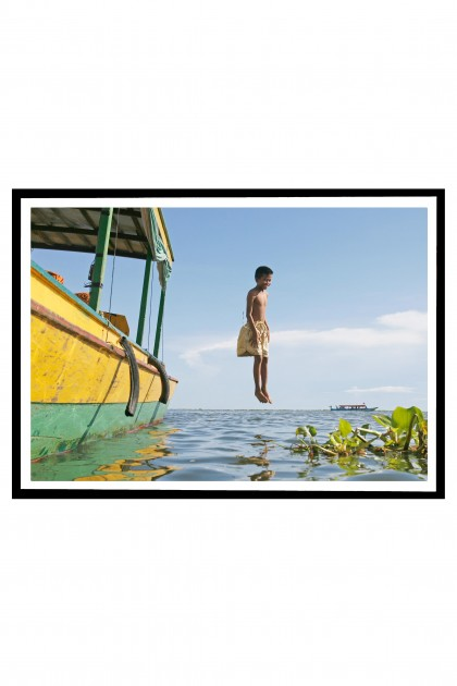 Poster with frame Jump in Tonle Sap Lake - Cambodia  By Emmanuel Catteau