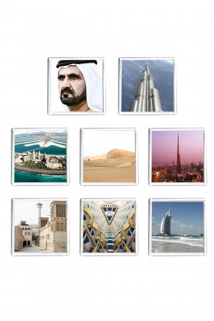 Set of 8 square magnets Dubaï