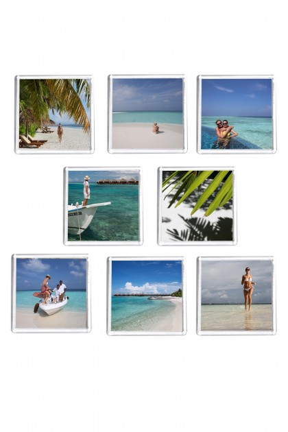Set of 8 square magnets Maldives Holidays