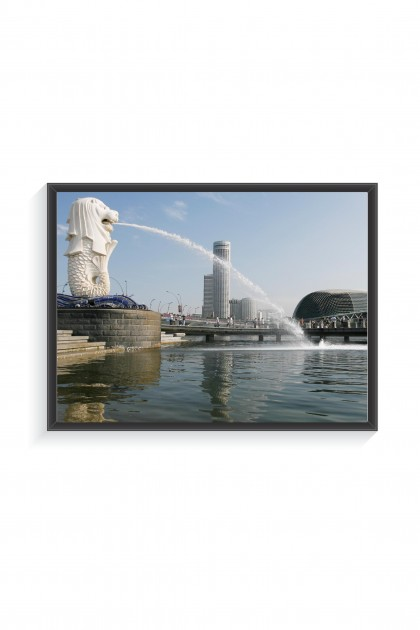 Poster with frame Merlion - Singapore - By Emmanuel Catteau