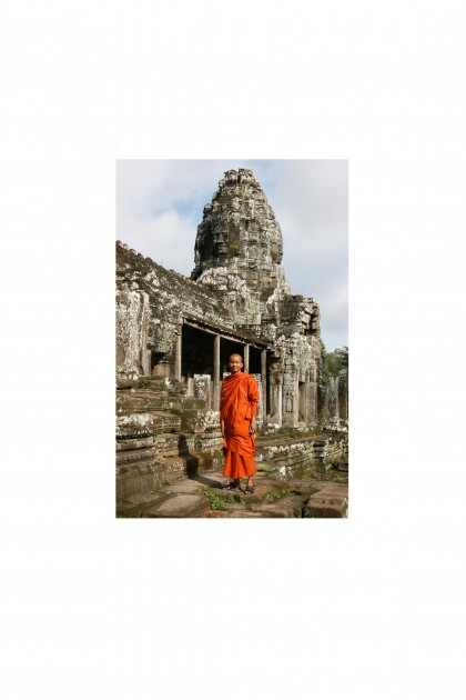 Poster Monk in Angko Rwat - Cambodia - By Emmanuel Catteau