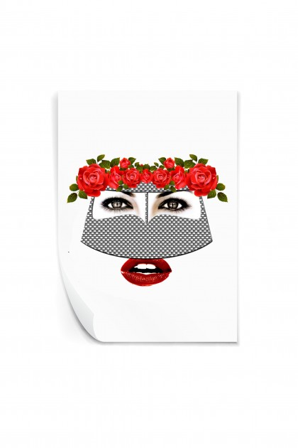 Reusable sticker Burqa Flowers