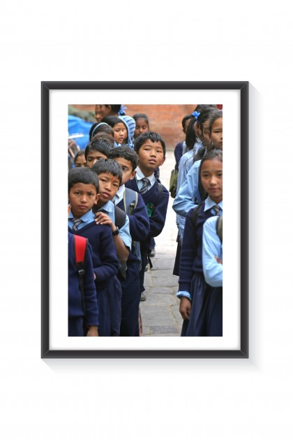 Poster with frame School Children - Nepal  By Emmanuel Catteau