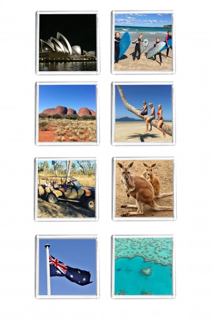 Set of 8 square magnets Australian Holidays