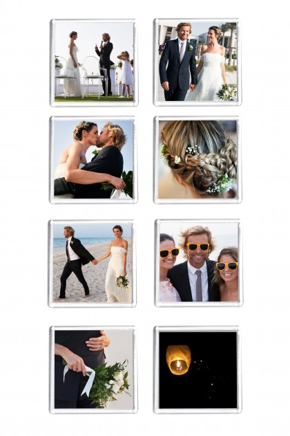 Custom your 8 square magnets Wedding