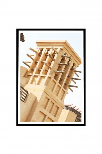Q. Poster with frame Traditional Wind Tower - Dubai - UAE By Emmanuel Catteau