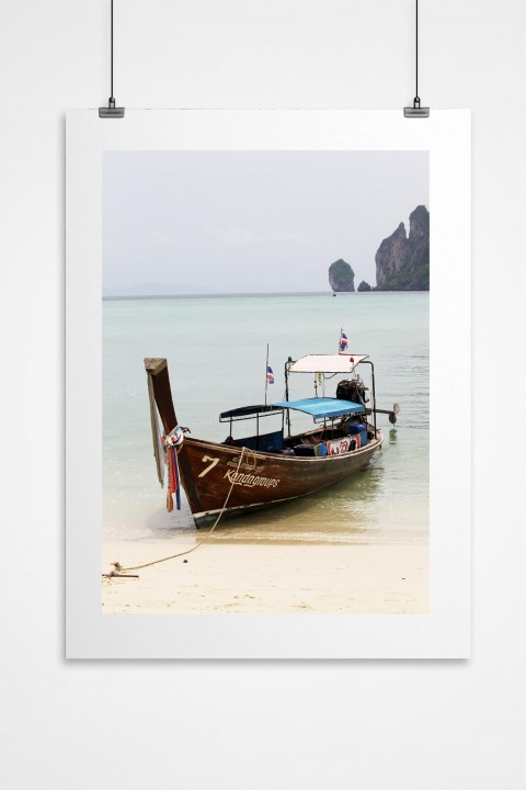 Poster Boat in Phuket - Thailand By Emmanuel Catteau