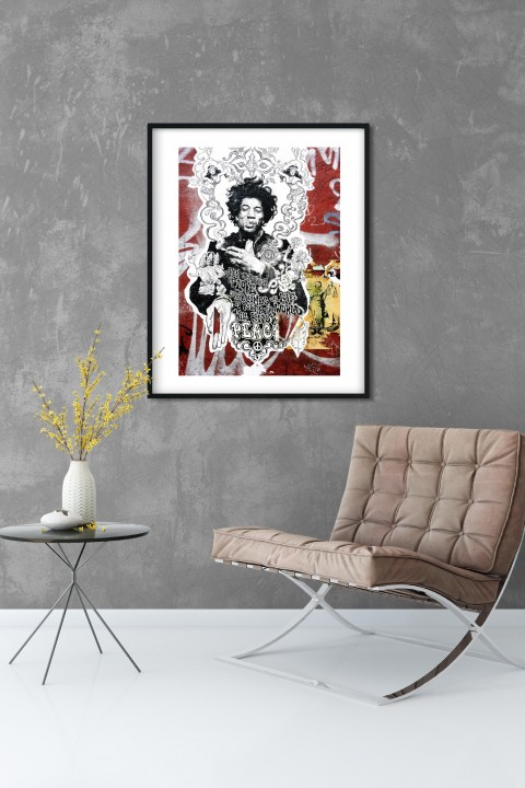 Poster with frame Jimi Hendrix Graffiti - New-York City By Emmanuel Catteau