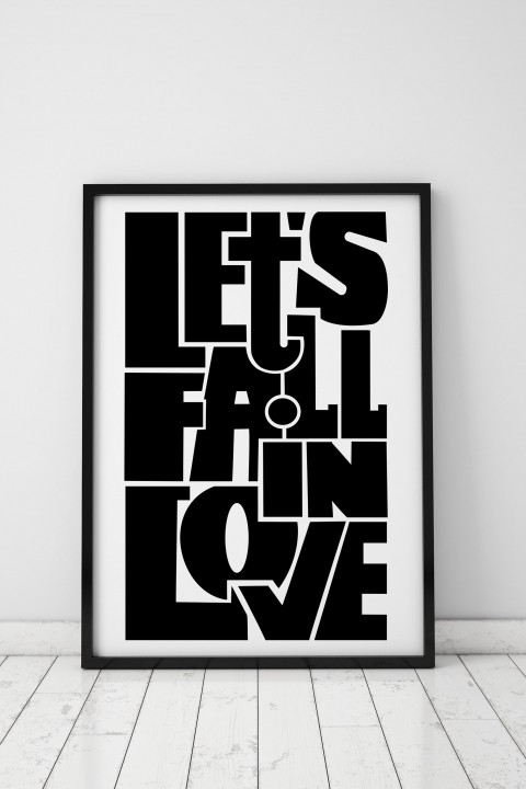 Poster with frame Let's fall in love