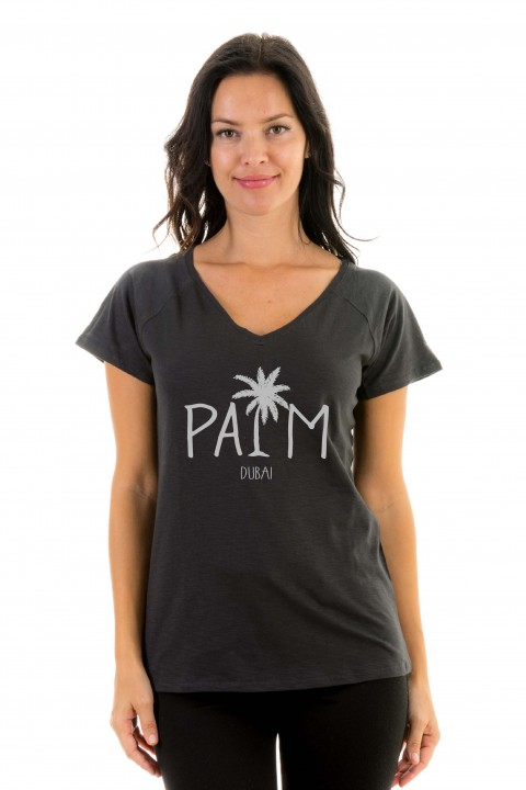 T-shirt v-neck Palm Dubaï