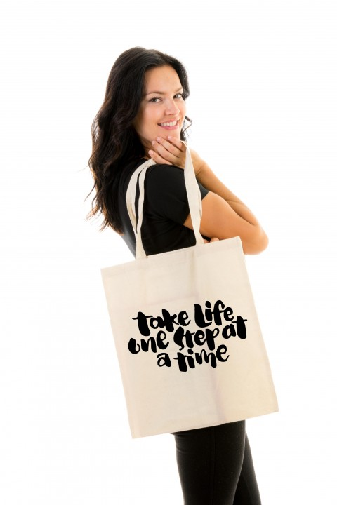 Tote bag Take Life One Step At a Time