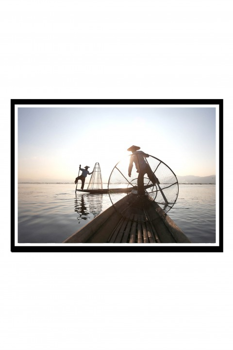 Poster with frame Traditional Fishing - Myanmar By Emmanuel Catteau