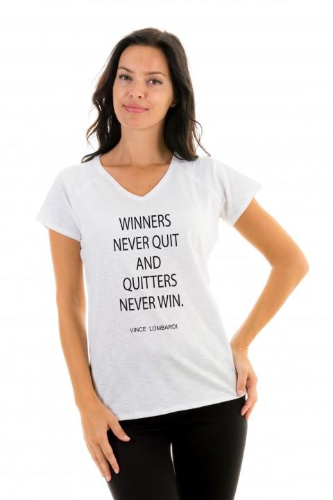 T-shirt v-neck Winners Never Quit